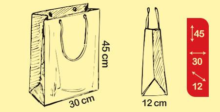سایز انواع ساک دستی کاغذی کرافت و گلاسه